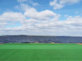 Artificial turf on the lake — Stock Photo