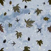 Autumnal seamless composition with dark cloudy sky,leaf fall,hovering swallows and snowfall — Stock Vector