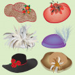 Collection of stylish hats with feathers and flowers for woman - Stock Vector