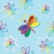 Stock Vector: Rainbow abstract floral seamless composition with butterfly