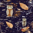 Royalty-Free Stock Vektorgrafik: Seamless pattern with owls and leaf fall on grunge dark background