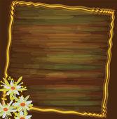 Ročník přání s abstraktní 3d květy, vlnitý rámeček, prokládané akvarel zázemí — Stock vektor