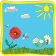 3d cartoon childish greeting card with sun, flowers and bees - Stock Vector