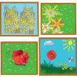 Four childish art painting pictures in 3d frames,abstract flowers, lawn, landscape,butterfly. — Stock Vector