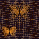 Seamless pattern with golden openwork butterflies on dark bacground with grunge grid — Stock Vector