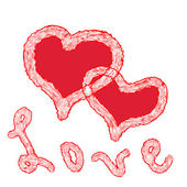Tarjeta de san valentín con dos corazones rojos grunge y palabra amor de felicitación — Vector de stock