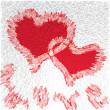 Royalty-Free Stock Photo: Greeting valentines card with two red grunge hearts and word love
