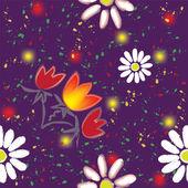 Padrão sem emenda de grunge com flores abstratas e coloridos no fundo violeta — Vetor de Stock