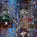 colagem abstrata com silhueta de pássaros e árvores no fundo listrado colorido — Foto Stock