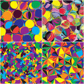 Set of seamless grunge circled,stained and striped rainbow patterns — Stock Vector