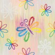 Seamless pattern with rainbow cartoon butterfy and flowers on striped background in pastel colors — Stock Vector