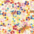 Seamless rainbow childish pattern with abstract flowers and butterflies — Stock Vector