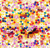 Colorful composition with abstract butterflies and flowers on grunge striped and wavy background — Stock Photo