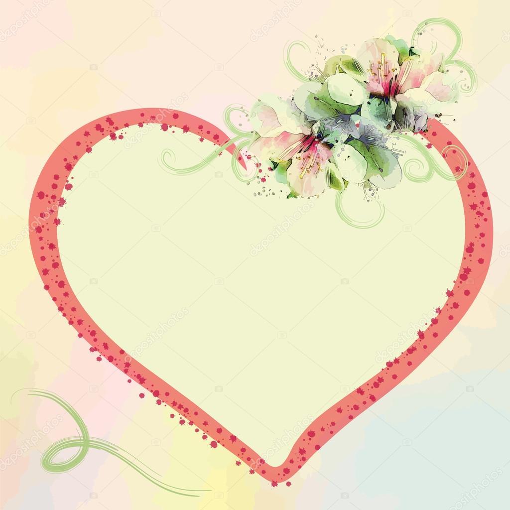 Carte d 39 invitation avec c ur abstrait et bouquet de fleurs for Bouquet de fleurs coeur