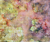Grunge stained and striped floral background — Foto Stock