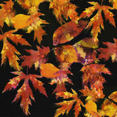 Abstract autumnal composition with bright grunge stained colorful leafs on black background — Stock Photo