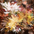 Grange stained colorful abstract floral background with chrysanthemums — Stock Photo