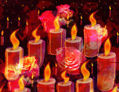 Grunge stained  sketching card with burning candles and  roses on gark background — Stock Photo