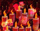 Grunge obarví kreslířská kartu s hořící svíčky a růže na pozadí gark — Stock fotografie