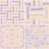 Set of grunge striped,stained,swirled and zigzag seamless patterns in pastel colors — Stock Vector