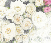 Floral grunge striped and stained vintage background with roses — Stock Photo
