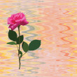 Seamless composition with isolated red rose on grunge striped wavy colorful background — Stok Vektör