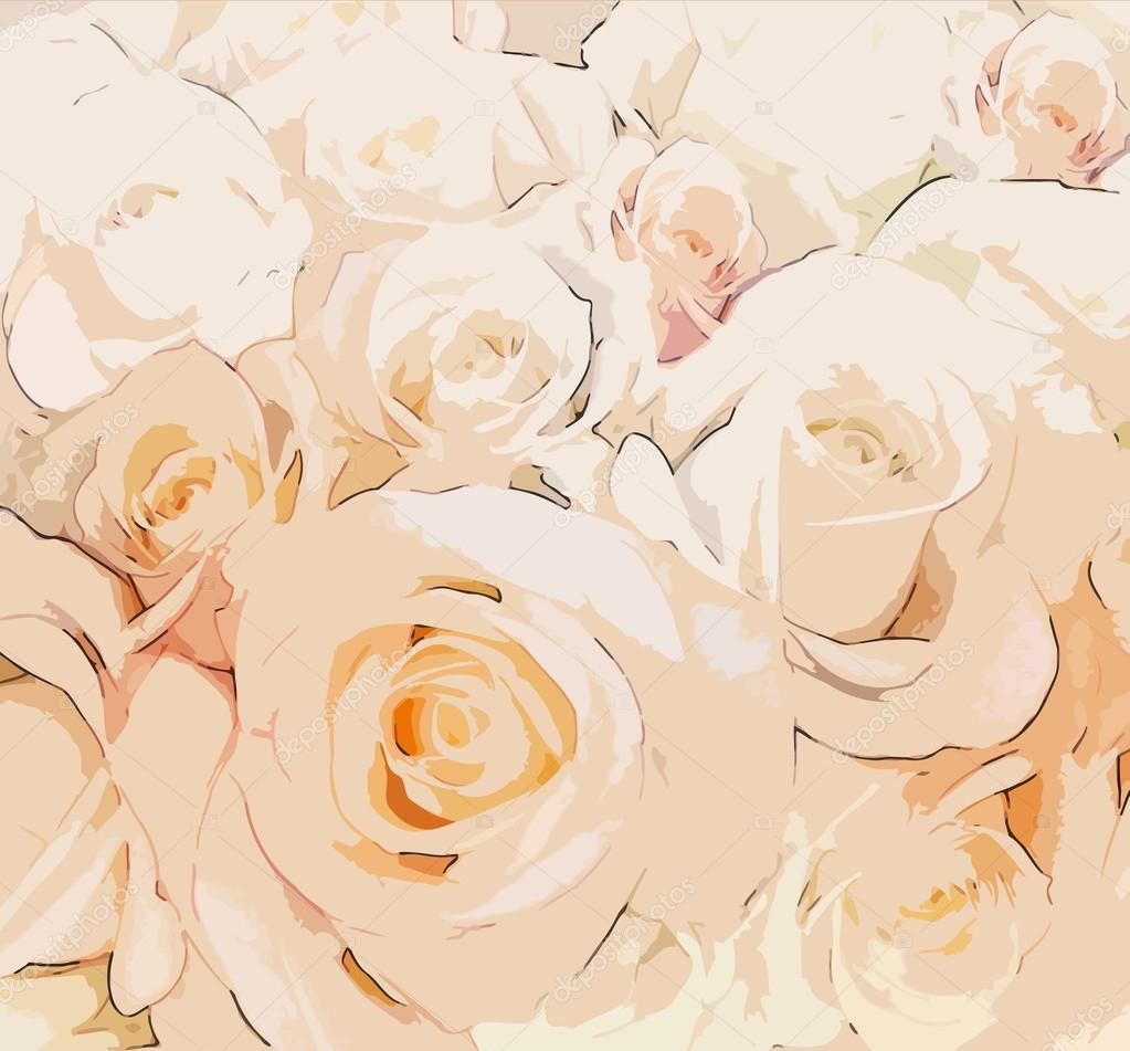 Бежевые розы