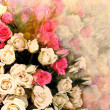 Floral greeting card with bouquet of roses on hazy background — Stock Photo #45598047
