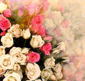 Floral greeting card with bouquet of roses on hazy background — Stock Photo