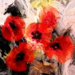 Red stylized poppies on grunge stained and striped dynamic background — Stock Photo #49074981