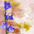 Floral vintage greeting card with bluebells on grunge stained background — Stock Photo