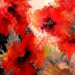 Red stylized poppies on grunge stained and striped dynamic background — Stock Photo