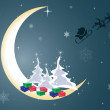 Santa Claus and his sleigh on the moon — Stock Vector
