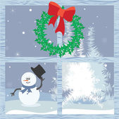 Christmas time through the window — Stock Vector