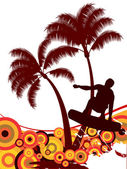 серфер на фоне лето — Cтоковый вектор