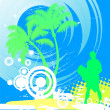Surfer on summer background - Stock Vector