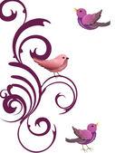 Diseño floral con los pájaros — Vector de stock