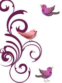 Floral design with birds — Wektor stockowy