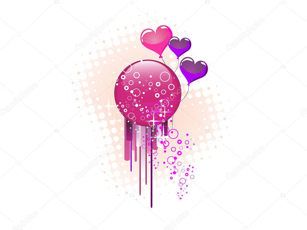 格拉斯按钮和心气球的插图 — 矢量图片作者 andreakaulitzki