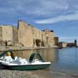 Stock Photo: Ramparts and pedalos at Collioure in France