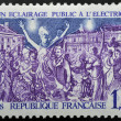 Stamp first public lighting at Grenoble - Stock Photo