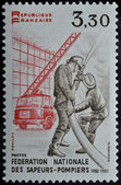 Stamp with fire brigade — Stock Photo