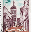 Stamp with the town of Riquewihr in France - Stock Photo