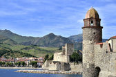 Castle and church of Collioure in France — Stock Photo