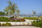 Garden and port at Sciez in France — Foto Stock