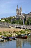 Small boats and Cathedral of Angers in France — Stock Photo