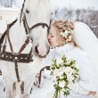 The beautiful bride with a horse in a winter park — Stock Photo