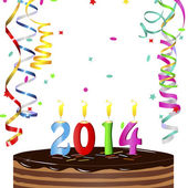 New Year Cake 2014 — Vector de stock
