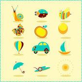 Children's summer icons — Stock Vector
