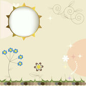 Summer vector background with sun and flowers — Stock Vector